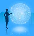 silhouette businesswoman present vector image vector image