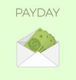 some dollar bills in white paper envelope send vector image