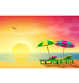 Sun Loungers on Beach vector image