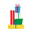 the pile christmas gifts merry christmas and vector image vector image