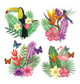 tropical and exotic bird with floral decoration vector image