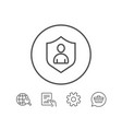 User protection line icon profile avatar sign