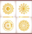 vintage gold round pattern set vector image
