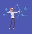 vr woman in archery game vector image