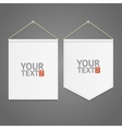 White Pennant Template Hanging on Wall vector image vector image