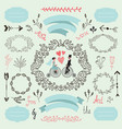 wintage wedding set romantic love vector image