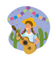 woman wearing hat with guitar and cactus plants vector image