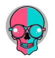 Isolated cartoon red and blue skull vector image