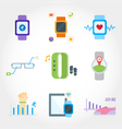 Wearable device flat design icon set vector image