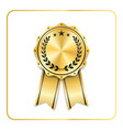 award ribbon gold icon laurel wreath vector image