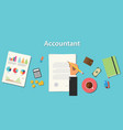 accountant with businessman working on paper vector image vector image