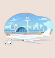 airliners waiting and takeoff in airport vector image vector image