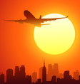 Airplane and Sun vector image vector image