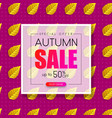 autumn sale promotion poster with yellow leaves vector image vector image