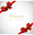 background with red bows and ribbons vector image vector image