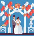 bride and groom flat style wedding figures vector image vector image