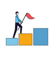 businessman climbing chart bar with flag vector image