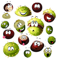 chestnut and acorn cartoon character vector image