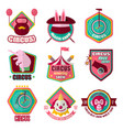 circus flat icons set clown magic hat vector image