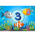 flashcard number three with 3 fish underwater vector image vector image