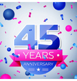 Forty five years anniversary celebration on grey vector image vector image