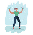 girl holding a dumbbell in her hand vector image