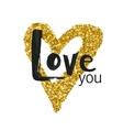 gold glitter heart greeting card vector image