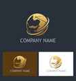 golden globe technology company logo vector image