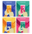 Hands Holding Abstract Smartphone With Material vector image