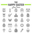 happy easter line icon set holiday symbols vector image