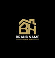 initial letter b and h with roreal estate vector image vector image