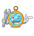 mechanic gold vintage clock with picture cartoon vector image