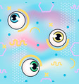 memphis pattern with eyeball fashin vector image vector image