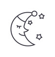 moon face sleep time line icon sign vector image vector image