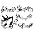 musical set with swallows vector image vector image