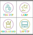 office equipment round linear icons templates set vector image vector image