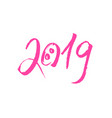 pink pig snout with 2019 new year lettering vector image vector image