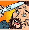 pregnancy test joyful bearded hipster man husband vector image
