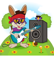 rabbit playing on electric guitar vector image