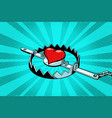 red heart in an iron trap love and romance vector image vector image