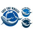 save whales emblem set vector image vector image