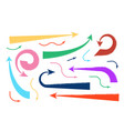 set of colorful hand drawn arrows vector image