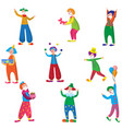 set of funny characters clowns in beautiful vector image