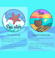 set of sea and summer adventure posters vector image