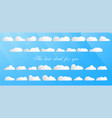 set of the best cloud isolated on blue background vector image vector image