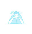 sick stressed dizzy person hand drawn vector image vector image
