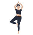 slim girl staying in tree pose and training vector image vector image