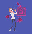 vr woman having negative experience vector image vector image