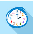 watch with multicolored numbers icon flat style vector image vector image
