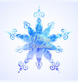 watercolor blue snowflake vector image vector image